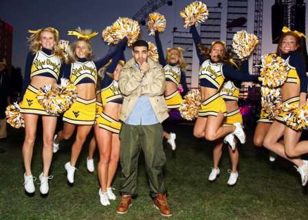 Drake, West Virginia University cheerleaders