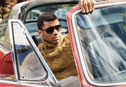 Russell Wilson in a Todd Snyder turtleneck. September 2013 GQ, Seattle's Best